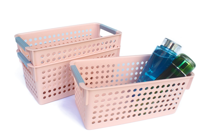 Honla Slim Beige Plastic Storage Baskets/Bins Organizer with Gray Handles, Set of 3 HUF-20186046