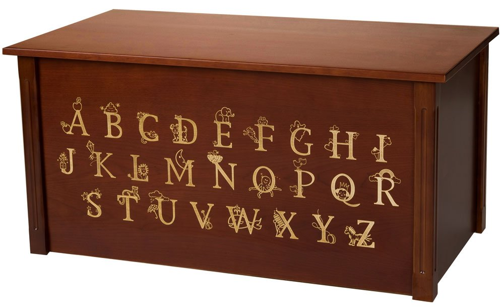 Wood Toy Box, Large ABC Toy Chest in Cherry, Thematic Font, Custom Options (CedarBase)