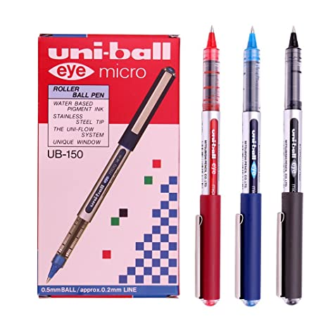 Uni-Ball Eye Micro UB-150 Gel Ink Pen - Uni Mitsubishi Pencil (Black,Blue,Red Mix) 12 Pens - 0.5 mm Gel Ink Rollerball Pens at amazon