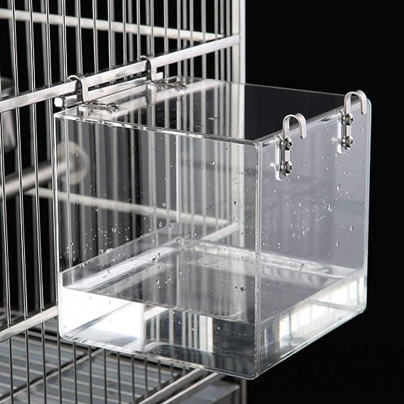 KINTOR - Bañera para pájaros (acrílico, sin Fugas, con Clip ...