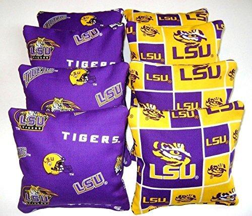 (8 Cornhole Bean Bags Louisiana Lsu Tigers All Weather Waterproof Washable)