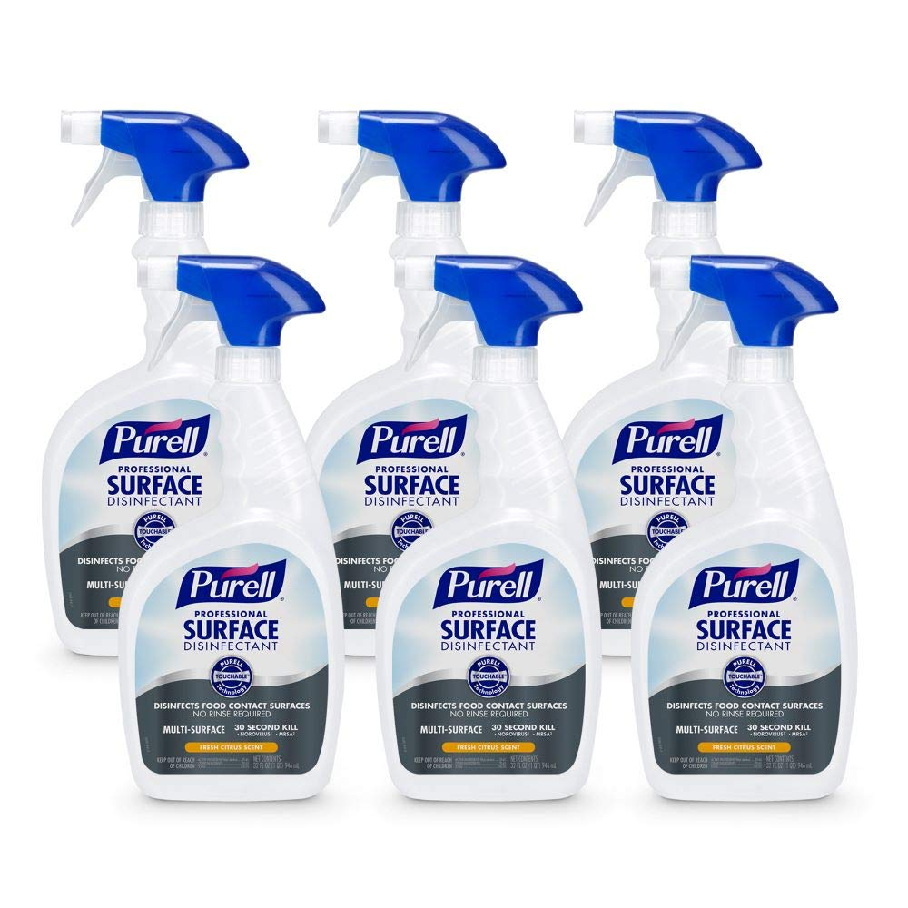 PURELL Professional Surface Disinfectant Spray, Fresh Citrus Scent, 32 fl oz Capped Bottle with Trigger Sprayer (Pack of 6 Capped Bottles, 2 Trigger Sprayers included) – 3342-06