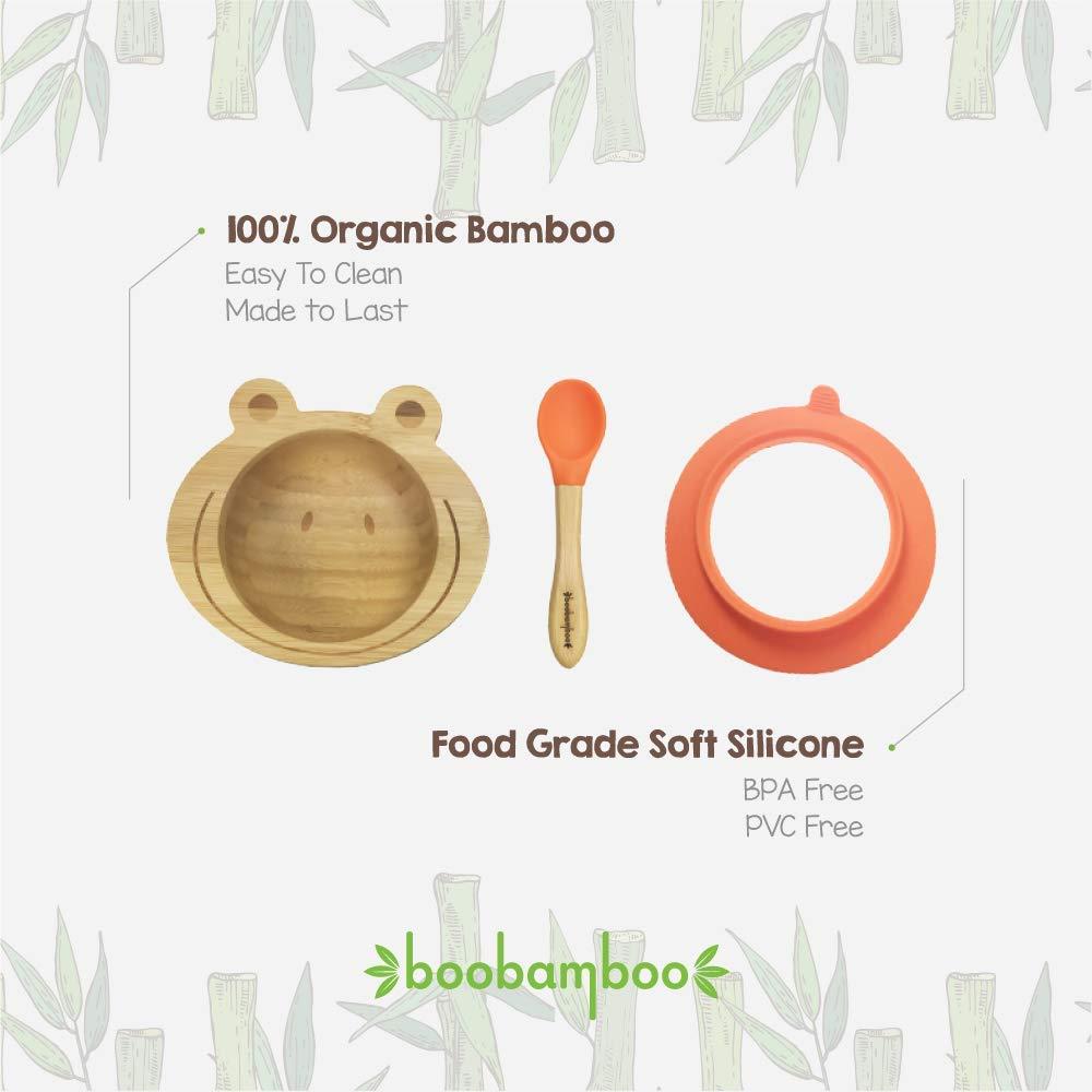Orange Sch/üssel aus Boobambus mit ausgekl/ügeltem Haltesystem aus nat/ürlichem Bambus und lebensmittelechtem Silikon zur einfachen Handhabung