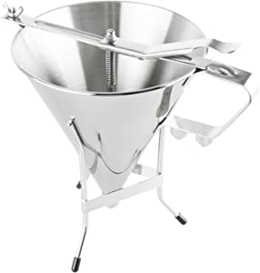 Homend Confectionery Funnel With Stand and Three Nozzles Stainless Steel Commercial Grade Cake Decorating Tool Precise Dispensing and Filling 7-1/4 inch Diameter