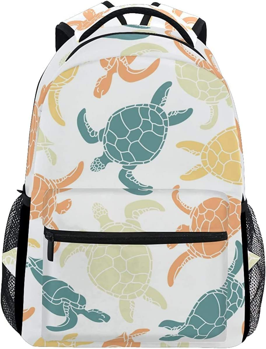 Unisex Turtle Casual Style Lightweight Canvas Backpack School Bag Travel Daypack Rucksack