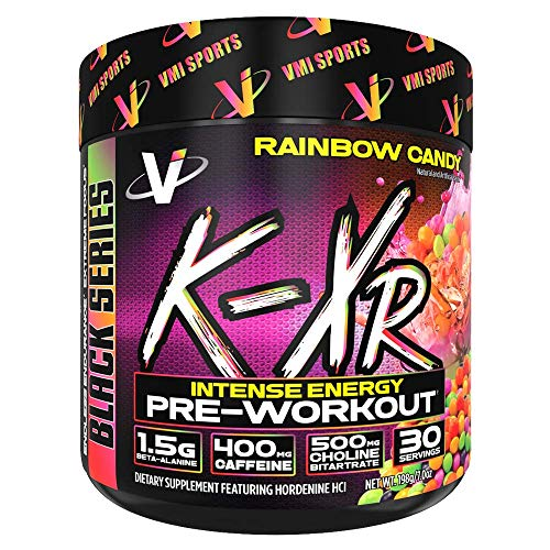 VMI Sports K-XR Pre-Workout Supplement for Intense Energy, Rainbow Candy, Muscle Builder for Extreme Pumps, Enhanced Focus, Creatine Free, Endurance, Strength and Power Pre-Workout Powder