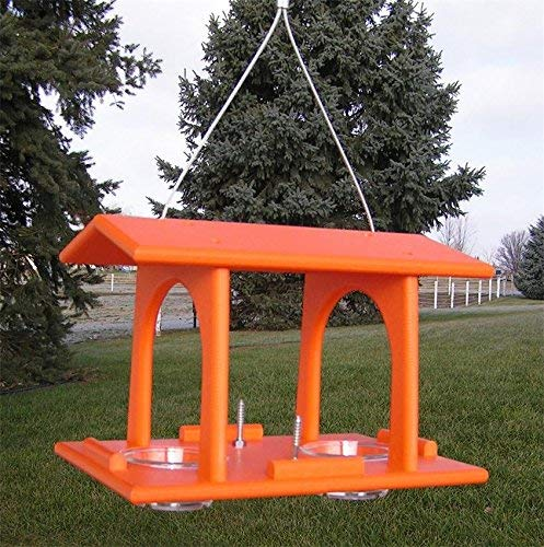 JMX Brands Inc Amish Premium Poly Oriole Bird-Feeder, Outdoor Hanging Feeder with 2 Jelly Cups and 2 Fruit Rods, American Made, Bright Orange