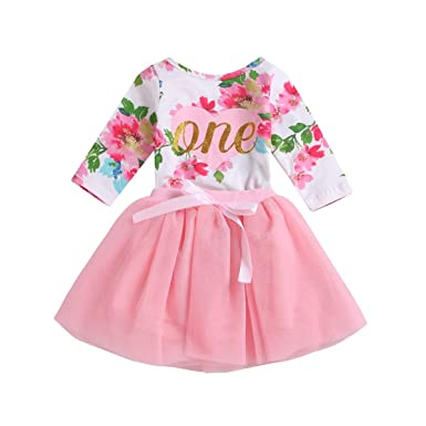 2055eec7edcb Baby Girl Clothes 1st Birthday Outfit Tutu Dress Floral Romper Top Lace  Skirt Set 2Pcs (