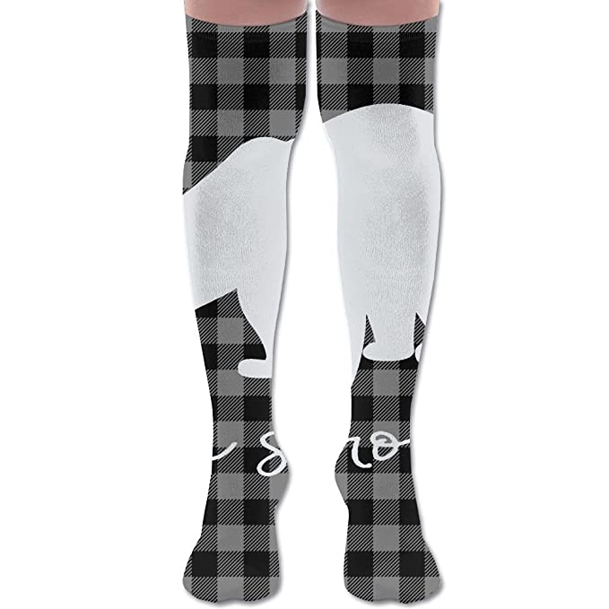 90adbe5ce Women Plaid Bear Buffalo Knee High Socks Sexy Soft Athletic Hiking Socks