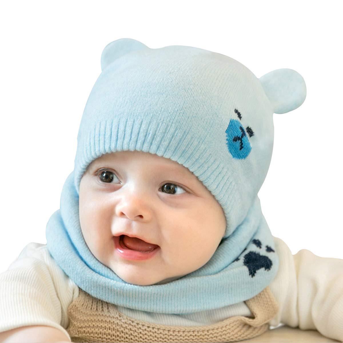 cjixnji Baby Kinder Winter Warm Gestrickter Mü tze Schal Sets, Kleinkind Kinder Warme Beanie Mü tze Weiche Baumwollkaps Schals Hü te fü r Baby Mä dchen Jungen Sä uglings Kinder 0-36 Monate