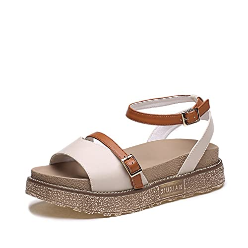 75a0736b1bc2 Queena Wheeler Women s Lace up Sandals Casual Summer Ankle Wrap Platform  Espadrilles Flats Shoes(Beige