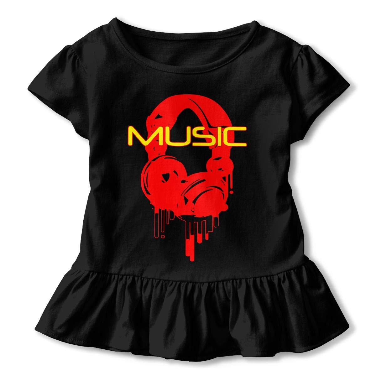 Cheng Jian Bo Melting Microphones Music Note Toddler Girls T Shirt Kids Cotton Short Sleeve Ruffle Tee