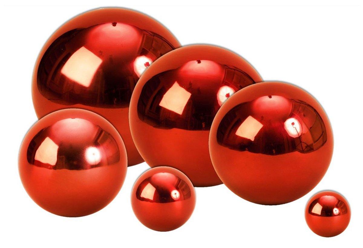 Geschenkestadl 3 x Dekokugel Rot /Ø 10 cm Rosenkugel Edelstahl Kugel Weihnachten