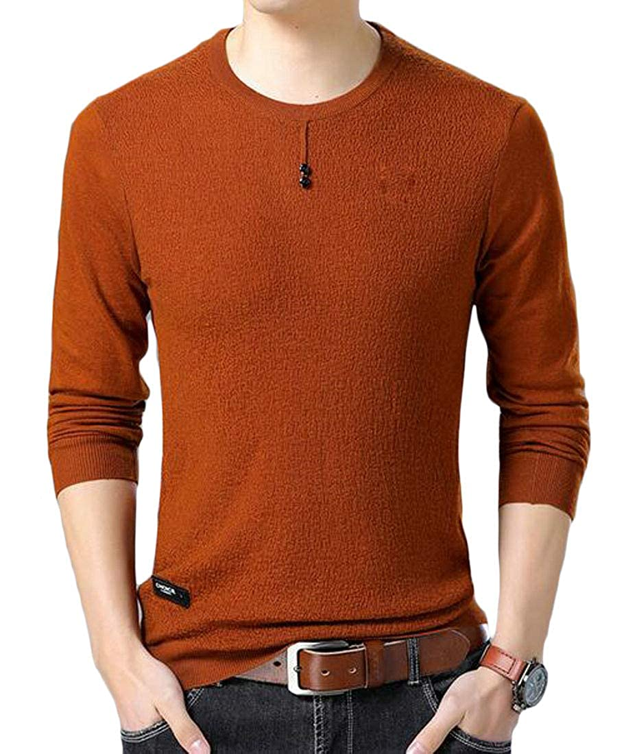 Bigbarry Mens Top Knitted Casual Long Sleeve Crew Neck Pullover Sweaters