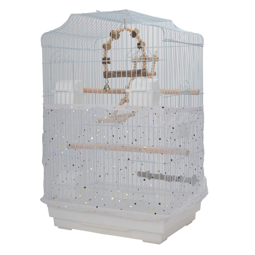 QBLEEV Bird Cage Cover Stretchy Seed Catcher Birdcage Nylon Mesh Net Cover Skirt Guard Shell White by QBLEEV