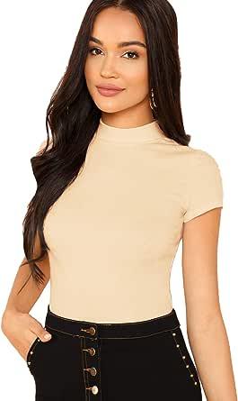 SheIn Women's Mock Neck Short Sleeve Slim Fit Knit Crop T-Shirts, Apricot, X-Small