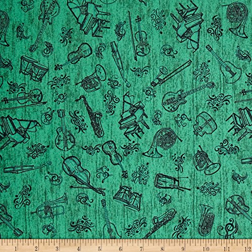 Encore Instrument Toile Green Fabric By The Yard