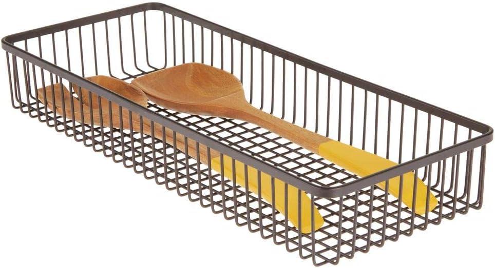 mDesign Juego de 2 organizadores de cajones universales de metal Cestas met/álicas para cocina y hogar Cuberteros para ordenar los utensilios y accesorios de cocina en los cajones color bronce