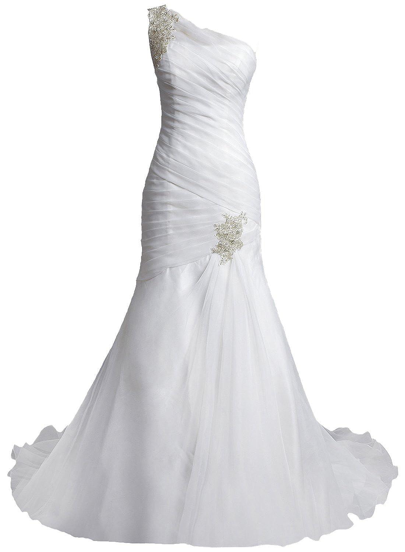 YSK Women's One-Shoulder Mermaid Ruffle Plus Size Wedding Dresses