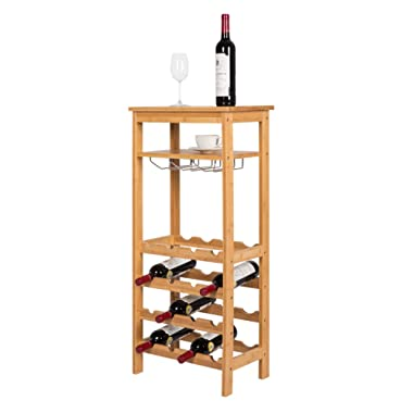 Kinsuite 16 Bottles Bamboo Wine Rack 4-Tire Free Standing Holder Storage Display Shelf with Glass Hanger&Shelf Great for Bar Kitchen Living Room Wine Cellar, Natural Bamboo