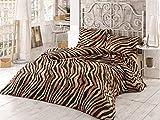 3 Pcs Luxury Soft Colored Bedroom 100% Cotton Ranforce Quilt Duvet Cover Set Leopard Wild Animal Safari Africa Design Patternn Brown Queen/Full/ Bed