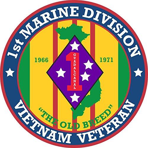 Military Vet Shop US Army 1st Marine Division Vietnam Veteran Window Bumper Sticker Decal 3.8