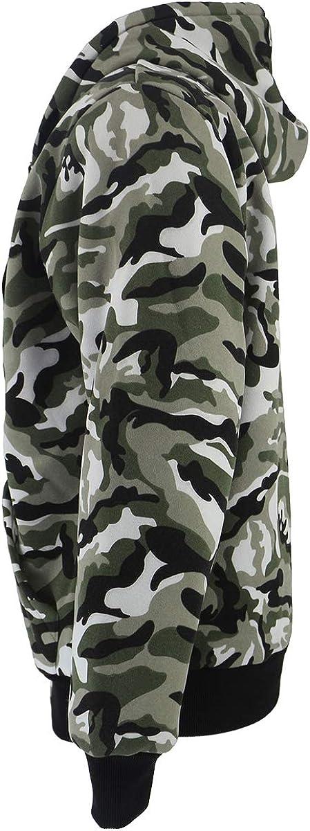 Men's Sherpa Lined Classic-Fit Hoodies Sweatshirt Lightweight Outdoor Casual Soft Warm Full Zip Fall Jacket Camo Green