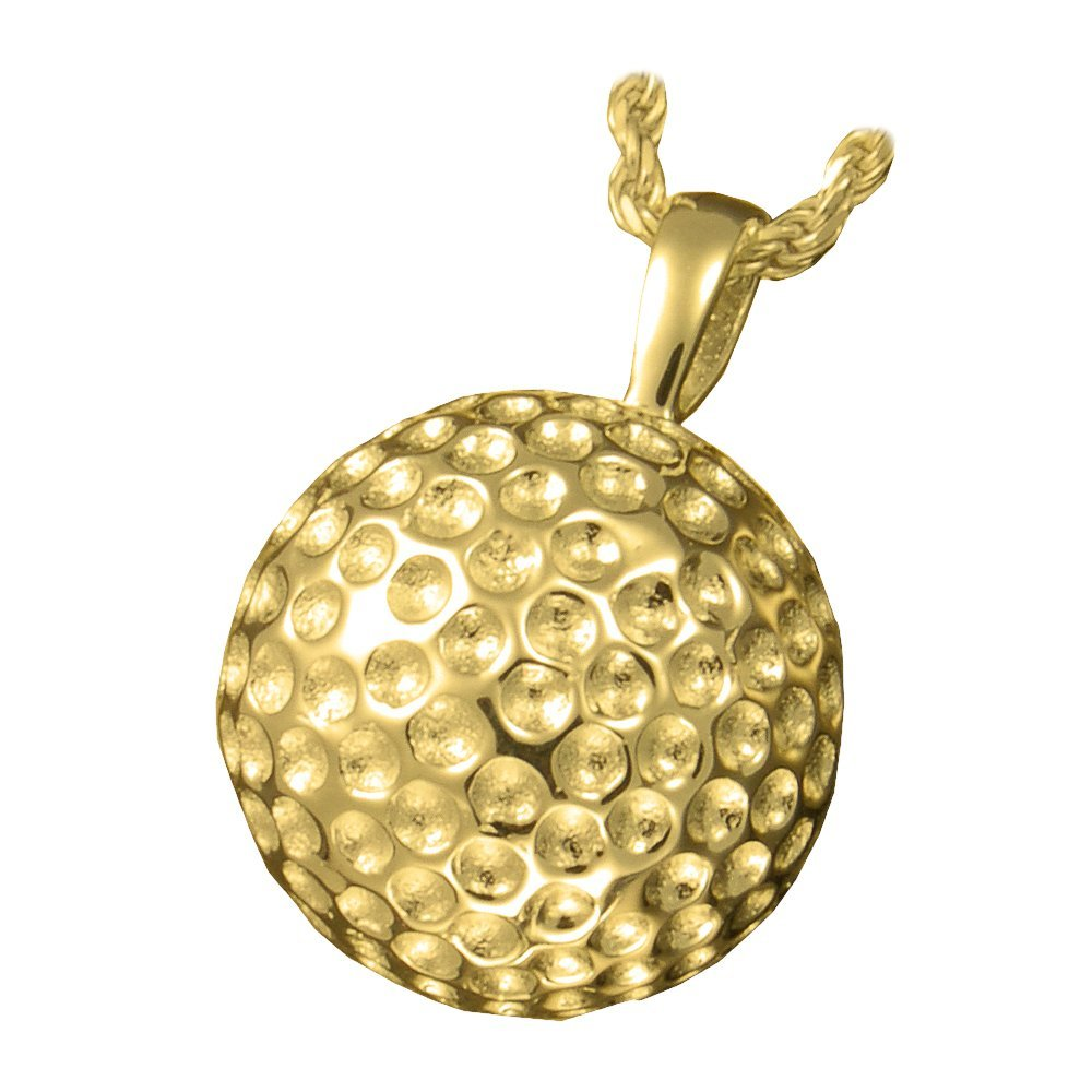 Memorial Gallery 3216 gp Sports Golf Ball Pendant 14K Gold/Sterling Silver Plating Cremation Pet Jewelry