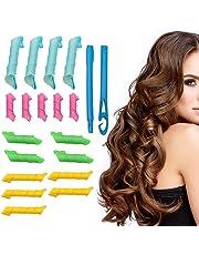 18 rizadores de pelo, 2 ganchos en espiral, rizos de pelo, rizadores de
