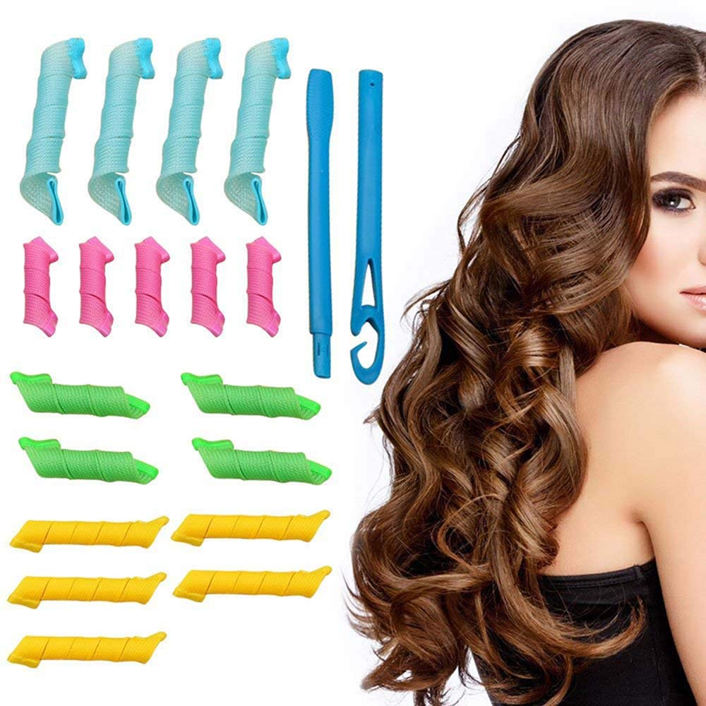vxcsbhr Rizadores de pelo Gama Kit de diseño de rizos en espiral, 18 rizadores de pelo sin calor y 2 ganchos de estilo Sin calor Rizadores de pelo Noche ...