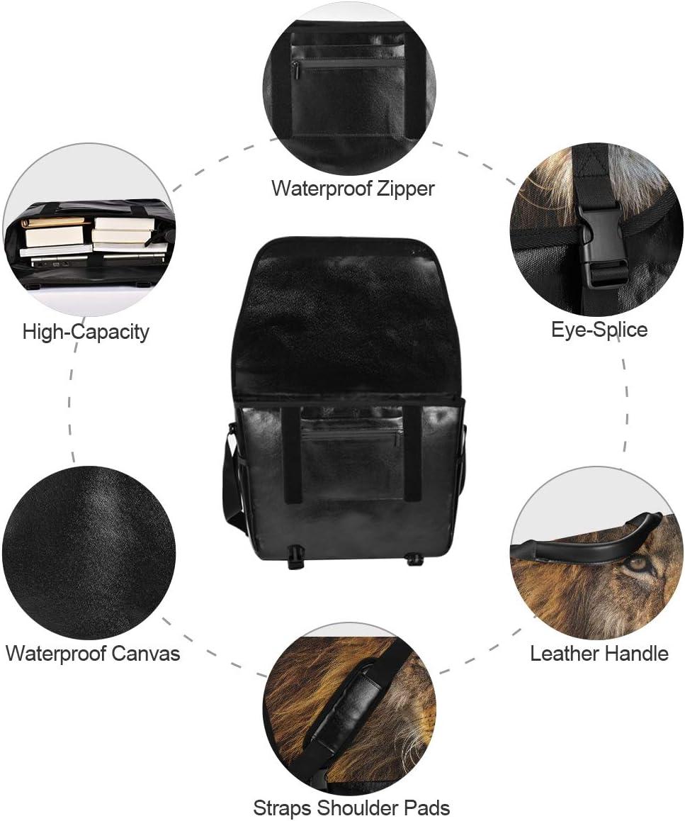 Casual Canvas Satchel Happy Traveling Camping Laptop Computer Shoulder Bag for Men Women Student Animal Lion Wild Messenger Bag