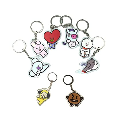 BTS Cartoon Acrylic Keychain Bangtan Boys Key Ring Hot Gift for  Army,Transparent, Double-Sided Visible (Cartoon, 8pack)