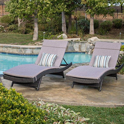 Olivia Outdoor Grey Wicker Adjustable Chaise Lounge with Charcoal Cushion (Set of 2) (Outdoor Wicker Chaise)