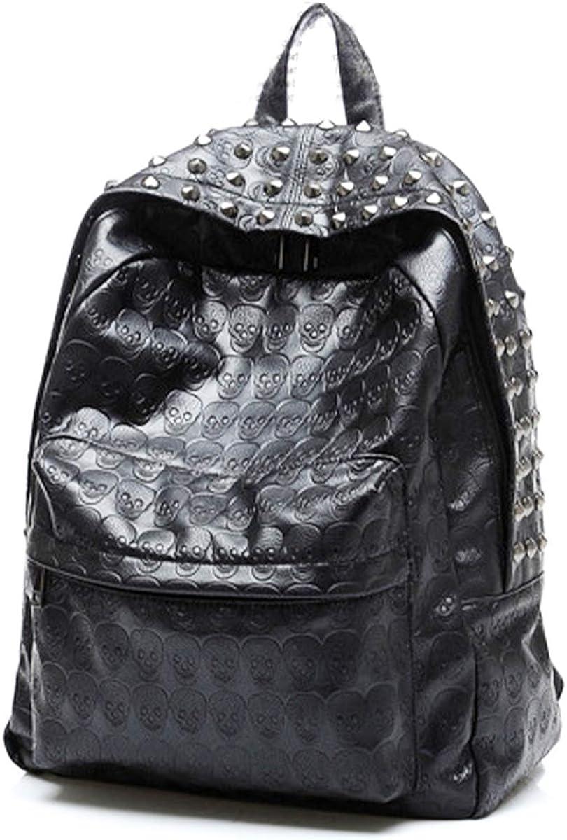 Skull Small Studded Leather Backpack Punk Art Bag PU Mini Cute Satchel Fashion Black Daypack