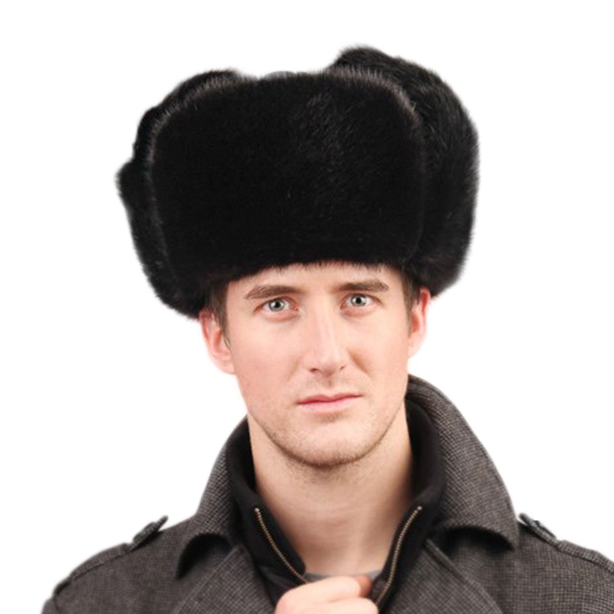 URSFUR Men's Mink Full Fur Russian Ushanka Hats Black by URSFUR