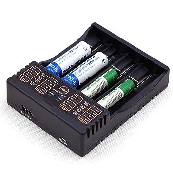 H&T Cargador de batería, USB Universal Cargador de batería 4 ...