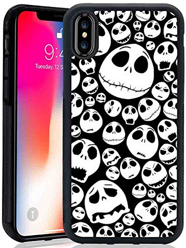 iPhone X Case, Sangkoo Halloween Jack Skull Emoticon Face Pattern Design TPU and PC Rubber Case for iPhone X for $<!--$6.99-->