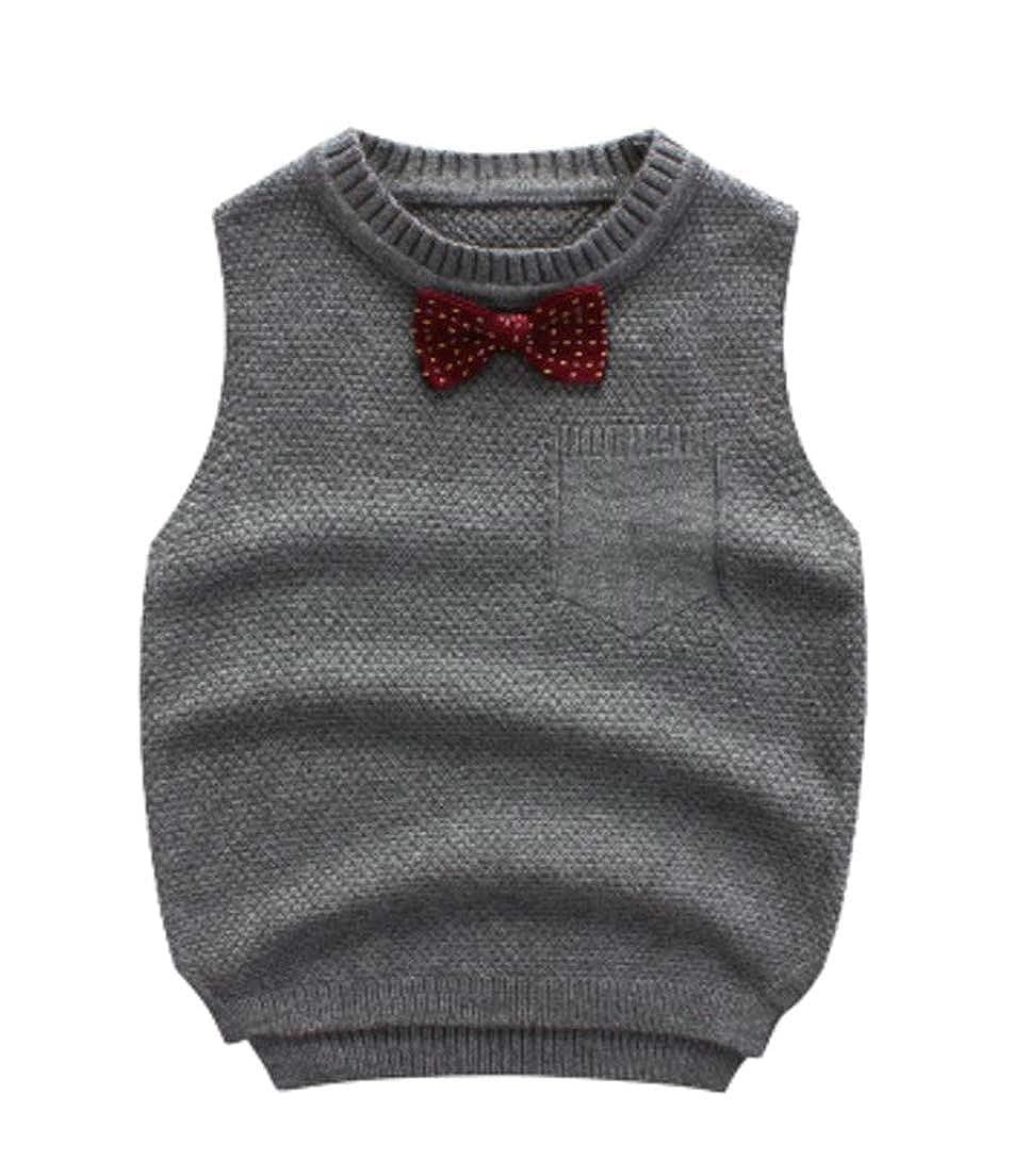 Cromoncent Boy Crewneck Bow-tie Knitting Kids Waistcoat Sweaters Vest