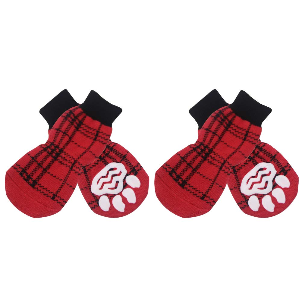 Red&Black Small Red&Black Small EXPAWLORER Classic Plaid Anti-Slip Dog Socks Traction Control Indoor Wear, Paw Predection