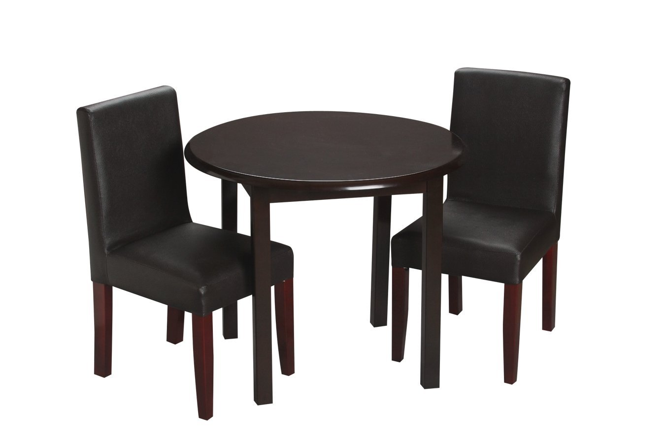 Gift Mark Children's Round Table with 2 Matching Completely Upholstered Chairs, Espresso