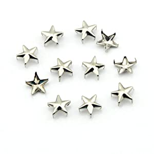 OOCOME Pack of 100 10mm Star DIY Metal Studs Silver 5 Prongs Spots Nailheads Spikes for Bag Shoes Jeans Bracelet