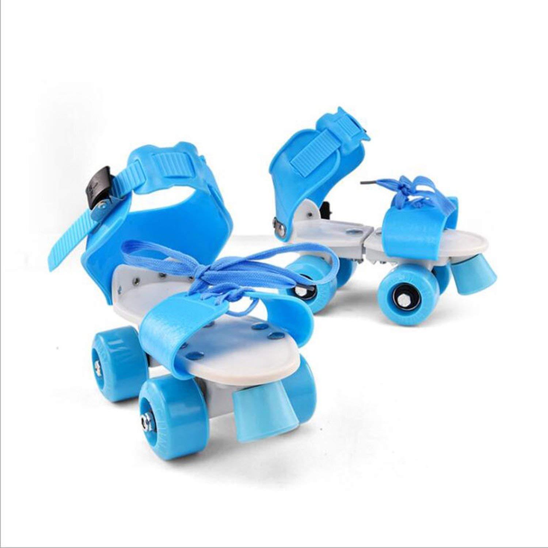 Adjustable Size Children Roller Skates Double Row 4 Wheels Skating Shoes Sliding Slalom Skates Kids Gifts Roller Sneakers,Blue