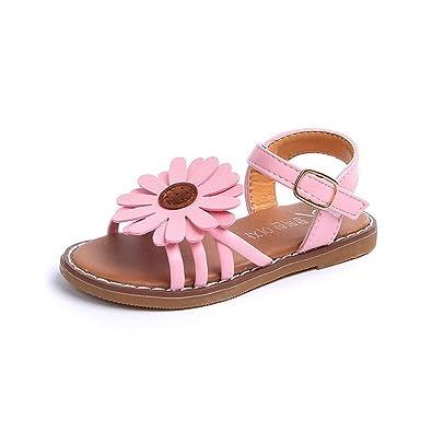 92a1ec352 Beau Today Girls  Summer Fashion Flat Flower Sandals Open Toe Strap Sandals  Outdoor Sport Sandals