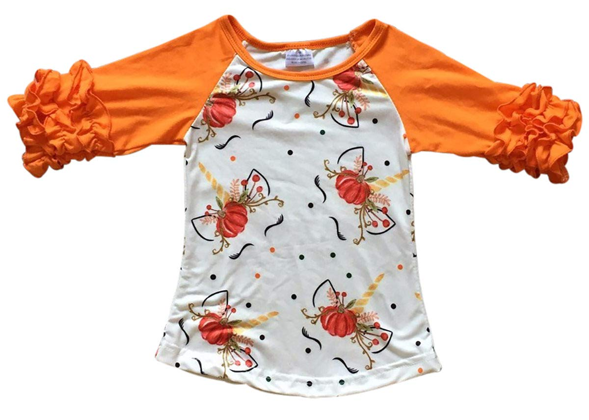 Big Girls' Halloween Unicorn Pumpkin Party Holiday Raglan Top T-Shirt Tee Kids Orange 8 XXXL (P201840P)