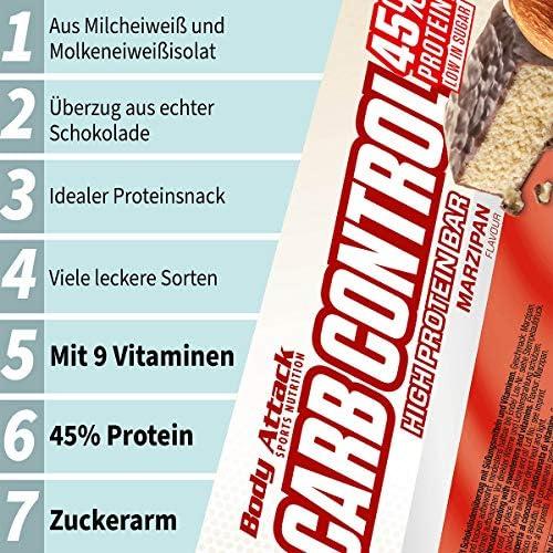 Body Attack Carb Control, Proteinriegel ohne Zuckerzusatz, Low Carb – High Protein, Eiweißriegel mit Whey, auch...