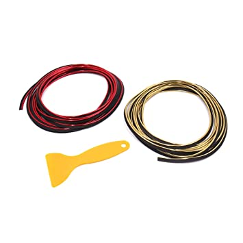 sourcing map Coche Embellecedor Moldura Cinta Decorativa Tira Rojo Dorado 7mm 5M