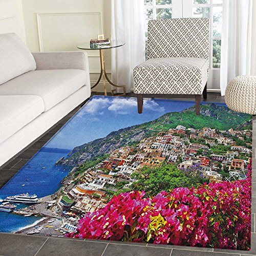 Italy Area Rug Carpet Scenic View of Positano Amalfi Naples Blooming Flowers Coastal Village Image Living Dining Room Bedroom Hallway Office Carpet 4'x5' Pink Green - Planter Amalfi