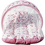 KiddosCare Baby Mattress with Mosquito Net Sleeping Bag Combo (Pink)
