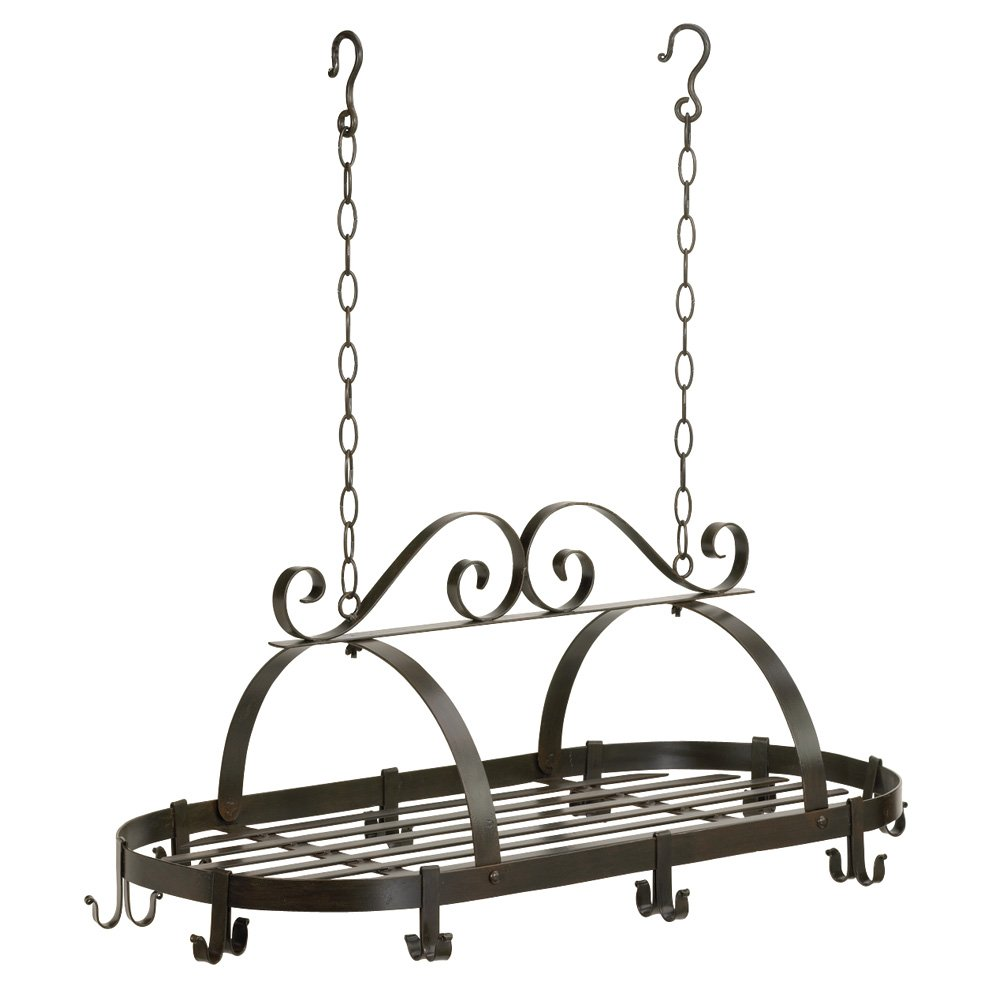 Hanging Iron Pot Rack With Intricate Swirl Design