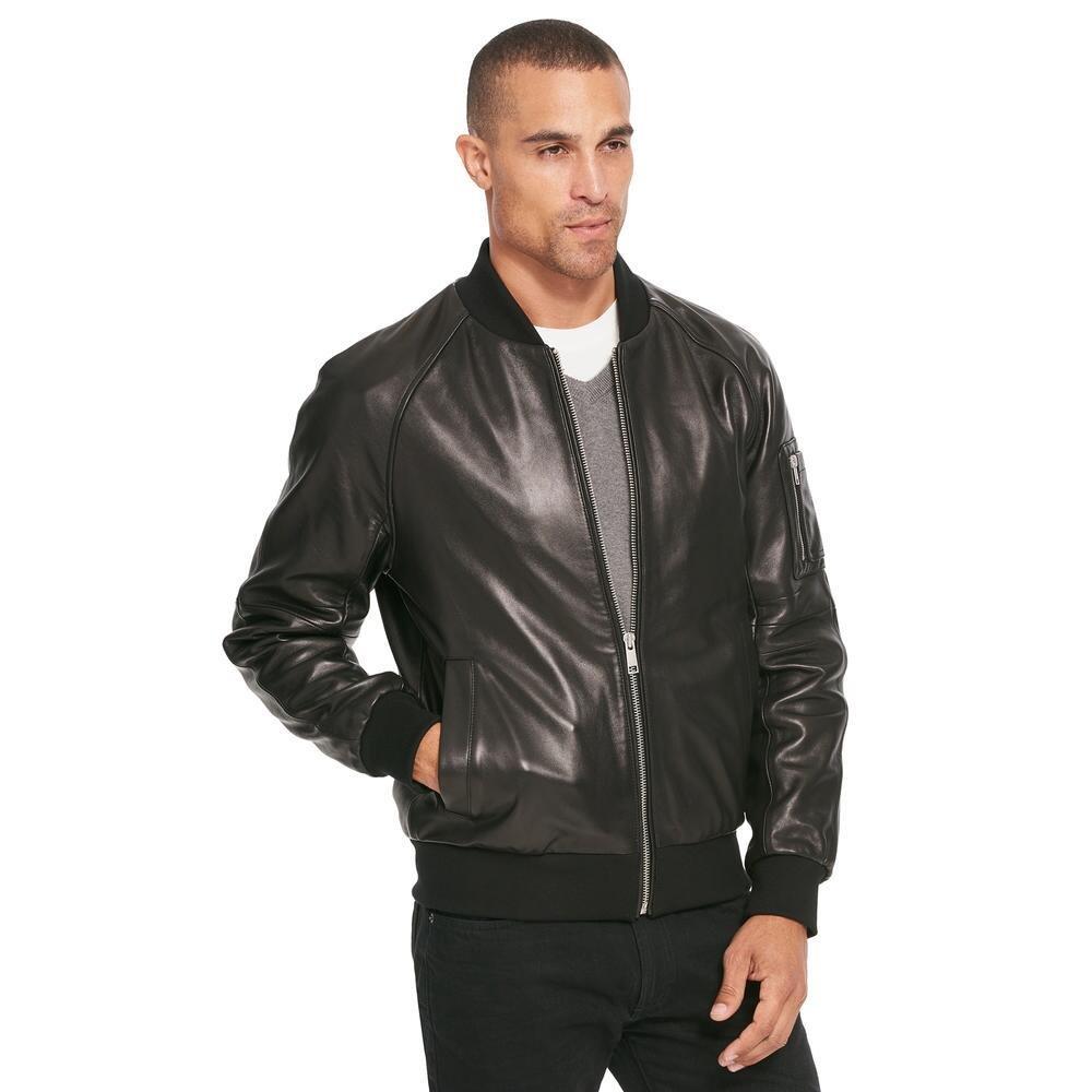 Wilsons Leather Mens Lamb Varsity Bomber XL Black